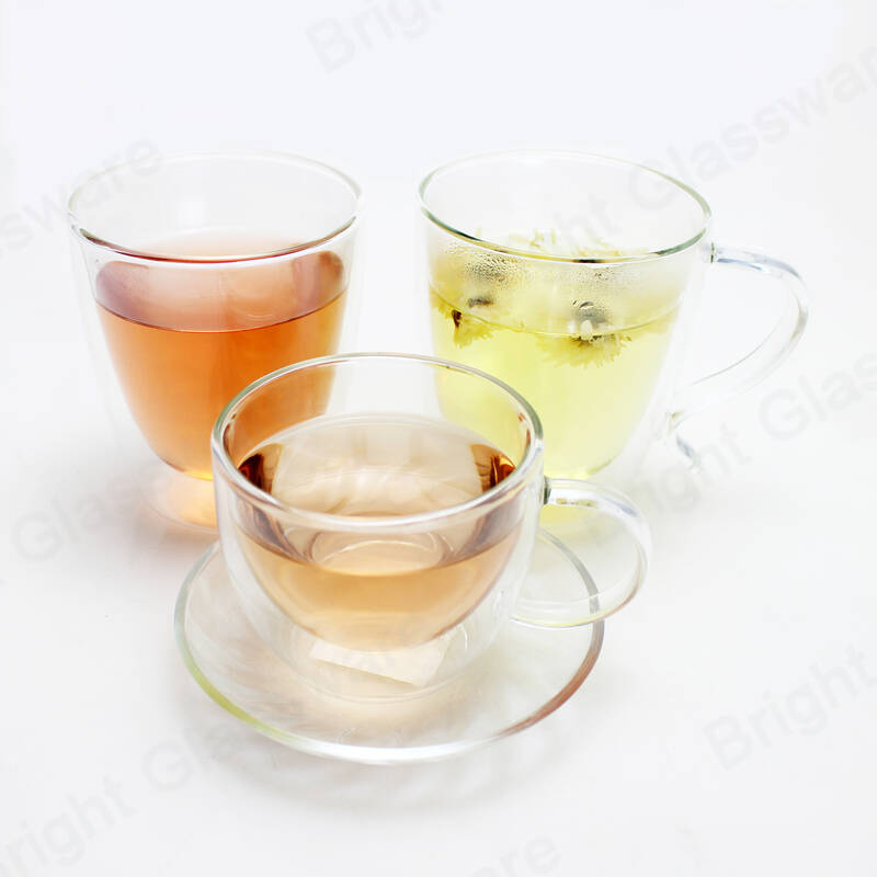 reusable insulated espresso tea borosilicate double wall glass mug with handle and saucer