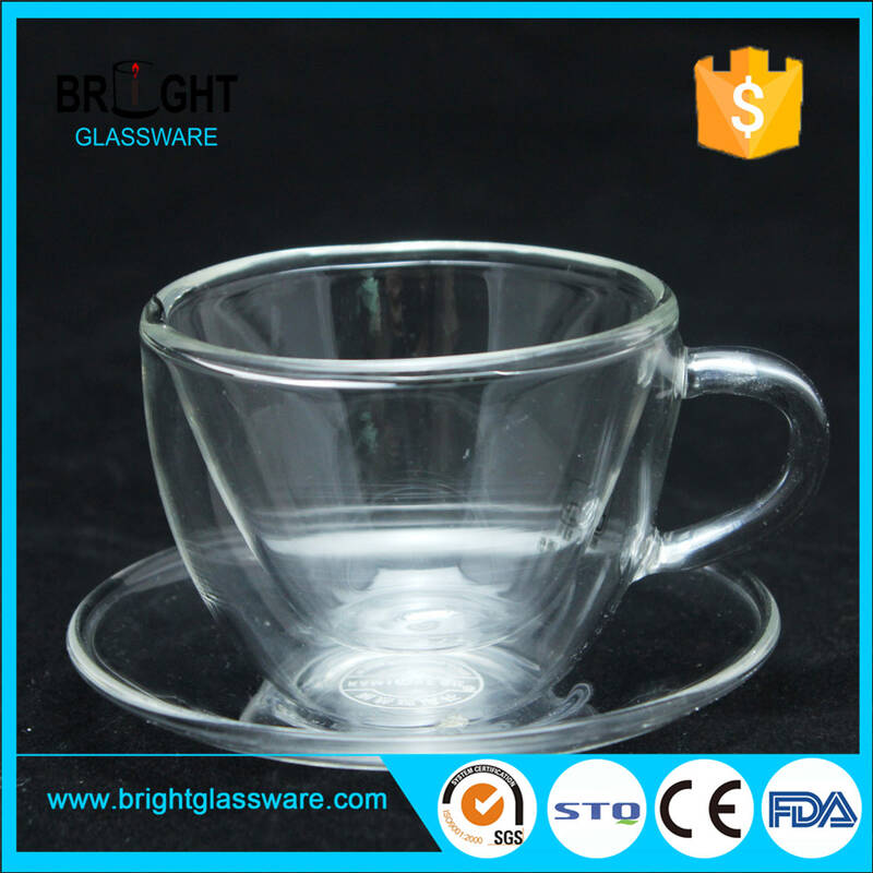 handmade high borosilicate pyrex glass coffee double wall tea cup and saucer set