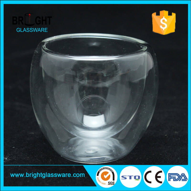 custom food grade clear juice milk glass mug heat resistant borosilicate glass coffee cup double wall