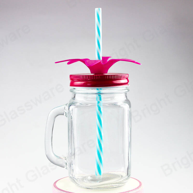 square drinking glass mason jar with handle and tin iron lid and straw