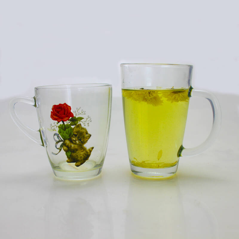 OEM Printing transparent water drinking tumbler glass mug with handle