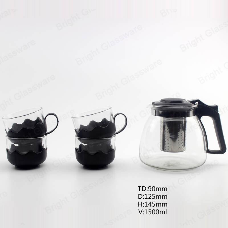 glass teapot and cup set with stainless steel infuser for houseware