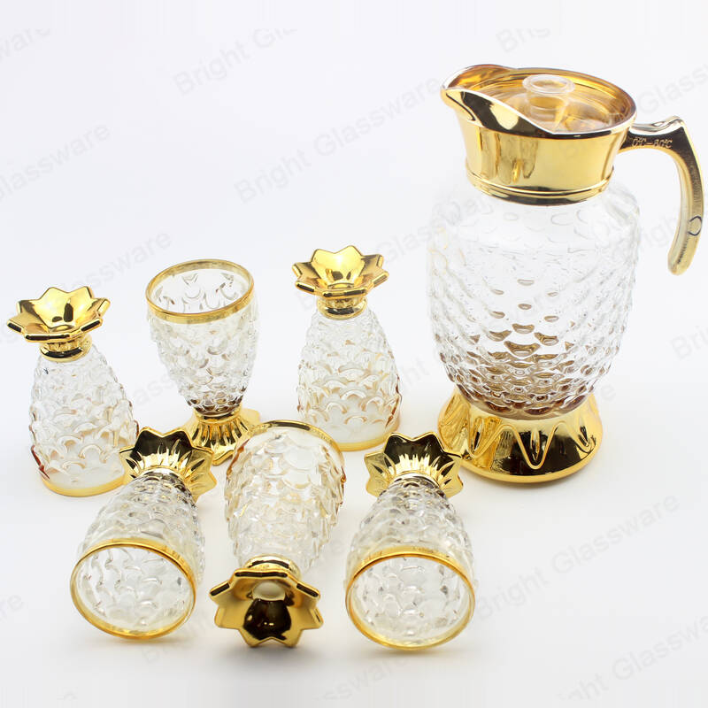 luxury fish scale shape 7PCS drinking glass water jug set glass fruit juice pitcher with 6 cups set
