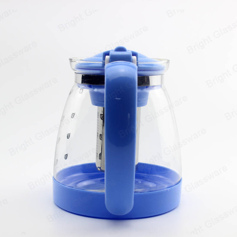 large capacity 1800ml big handle blue kettle glass teapot with stainless steel infuser