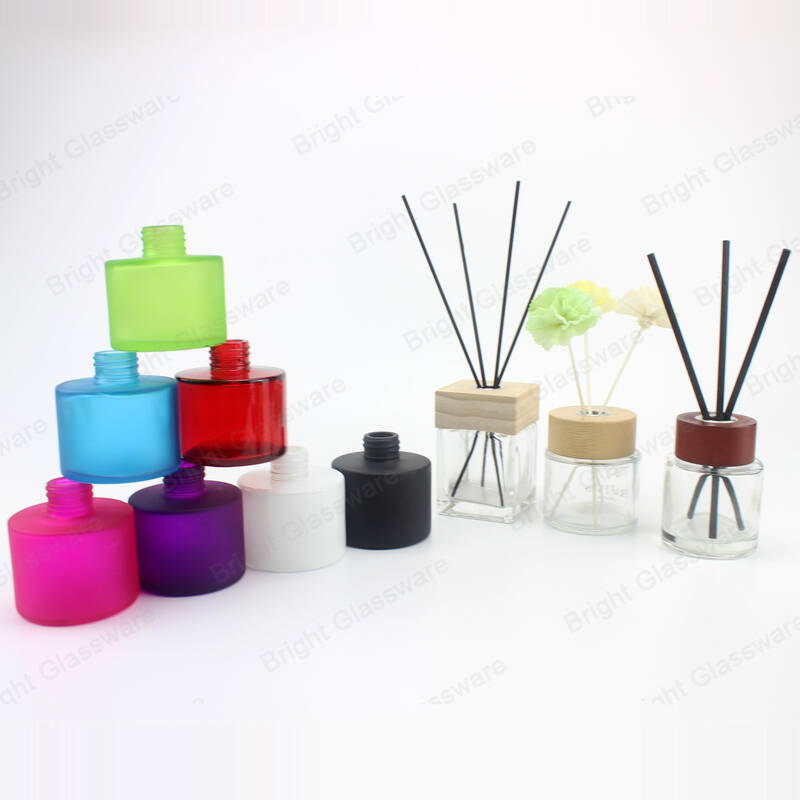 Matte Blue Black Red100ml Round Aroma Oil Frosted Glass Diffuser Bottle for Home decoration