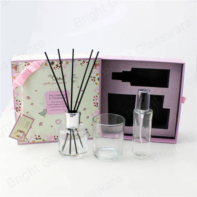 candle and diffuser gift sets essential oil room fragrance reed diffuser bottle with luxury packaging gift box