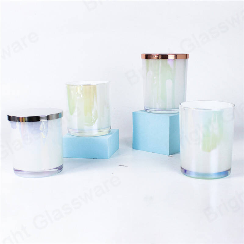 New design colored glass candle vessels with lids for sale
