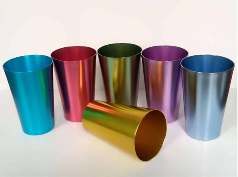 anodized rainbow colored beverage jucie water mug drinking german beer aluminum tumblers
