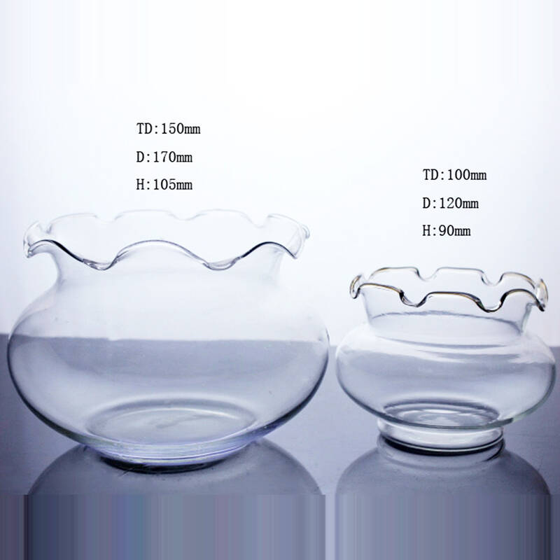 fashion clear round glass fish jar for home and office