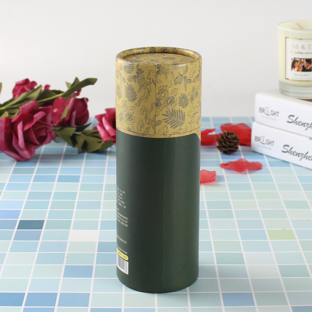 custom essential oil tube packaging cylinder biodegradable cardboard paper for cosmetic packaging