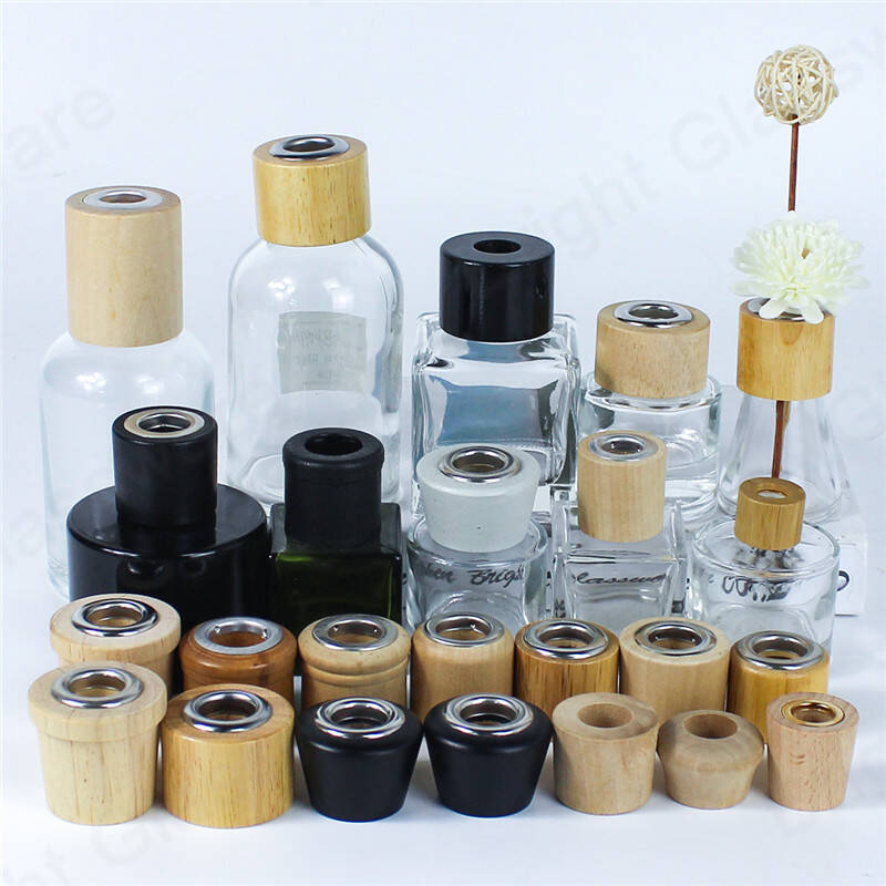 China factory natural wooden cap reed diffuser for home perfume glass bottle