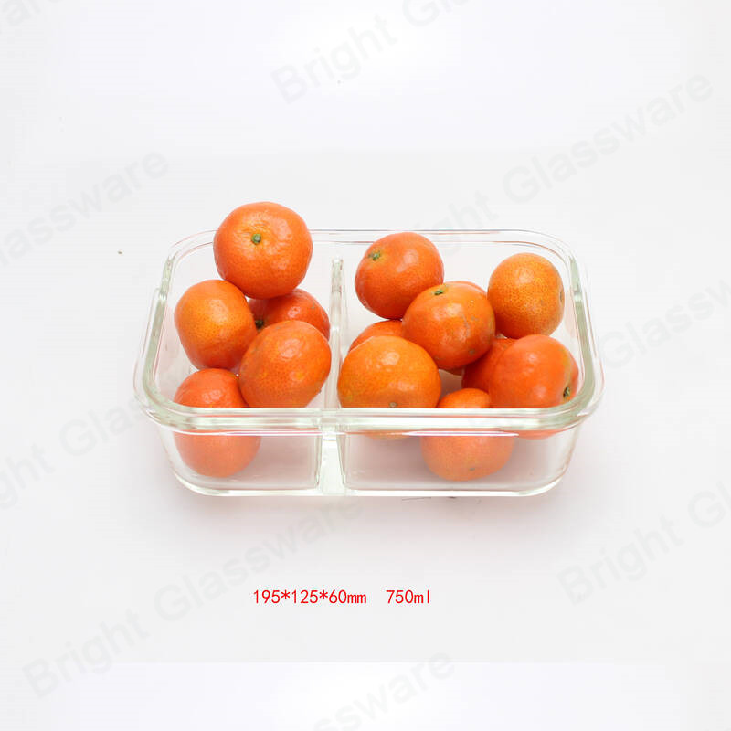 rectangle 2 compartment divided food container glass baking dish with divider and airtight locking lid