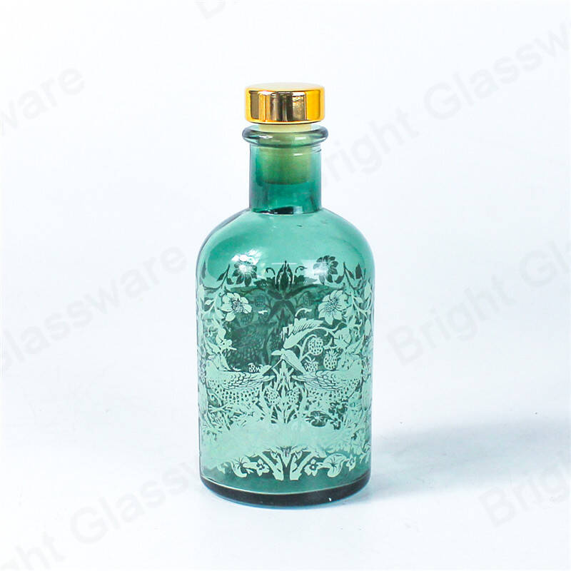 100ml decal design aromatherapy essential oil reed diffuser jars glass bottle with cork