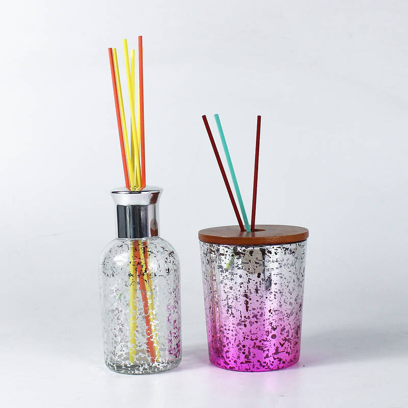 shiny silver reed diffuser bottle with fiber sticks