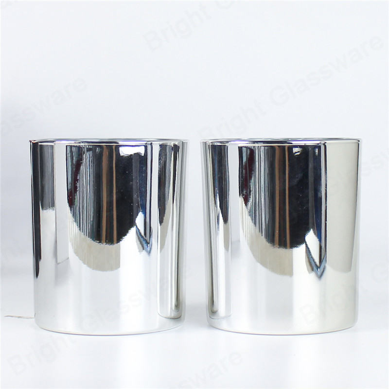 electroplated shiny silver candle jars wholesale for home decor