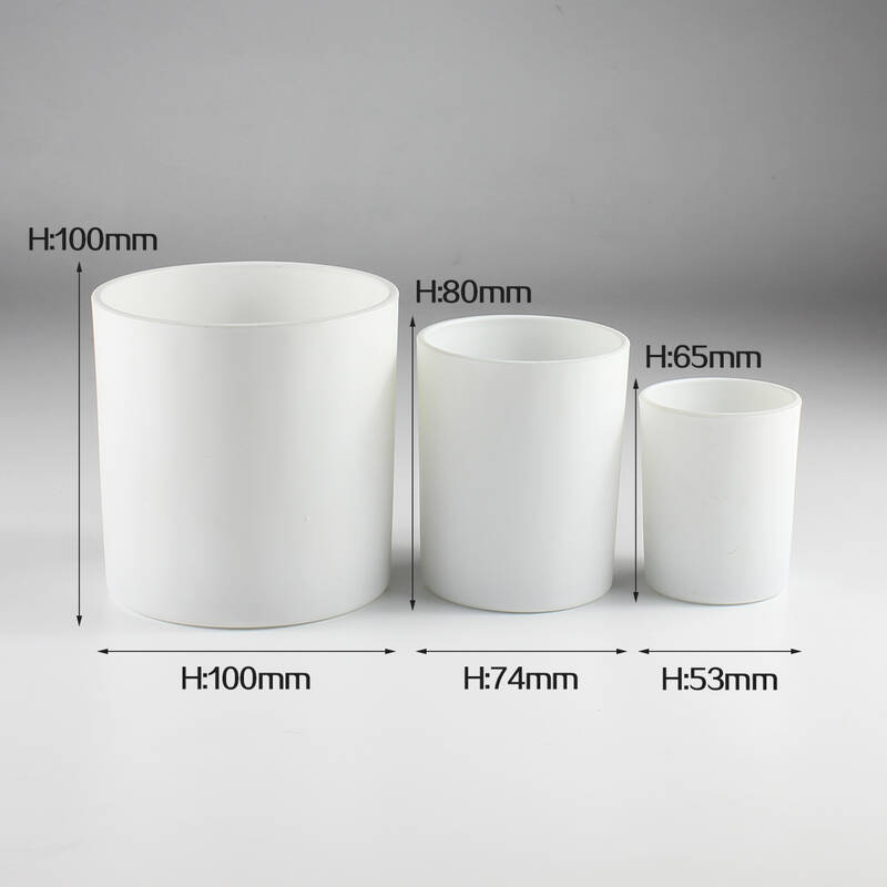 high quality cylinder matte white glass 3oz 6oz 14oz candle jars wholesale