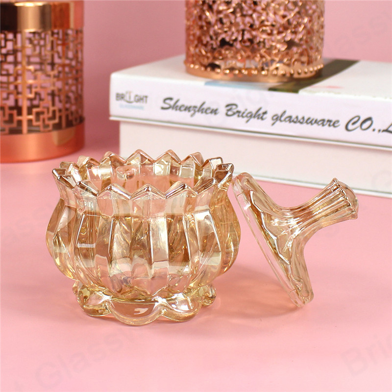 luxury clear and golden glass sweet sugar storage jar crystal glass candy pot