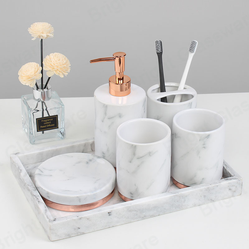 modern luxury design hotel home decoration 6-Pieces ceramic bathroom accessories set