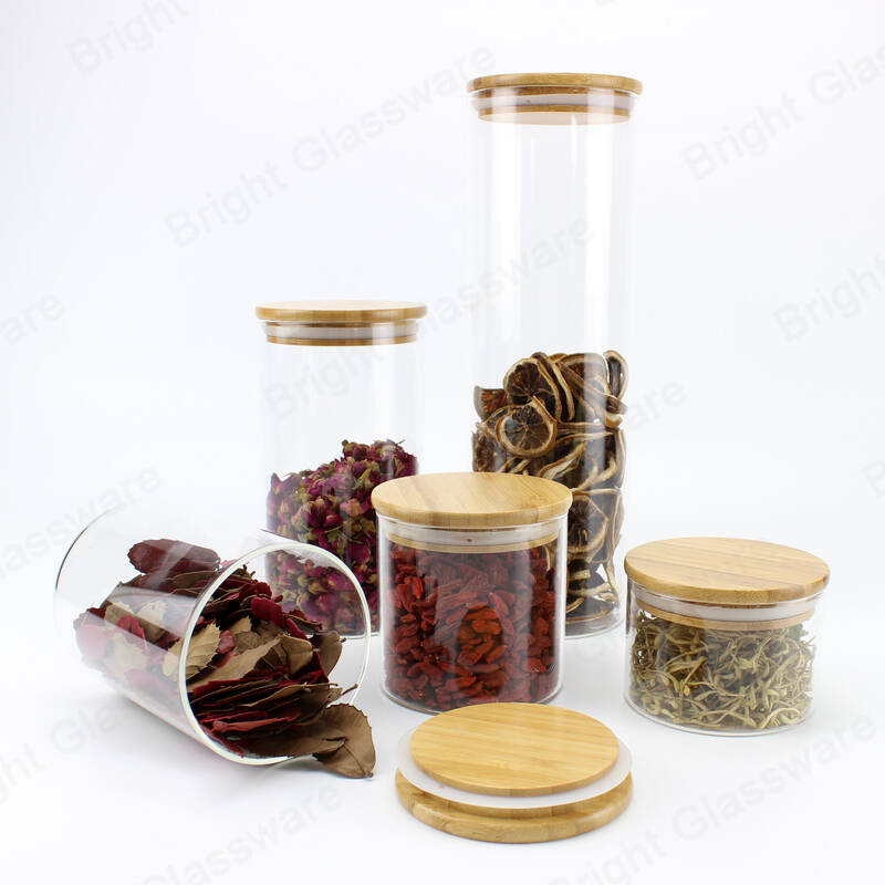 custom different size clear round storage food candy cookie high borisilicate glass jar with bamboo lid