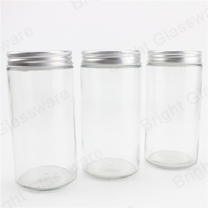 jam honey beans snacks airtight transparent glass storage bottle cylinder mason jar with aluminum screw cap lid