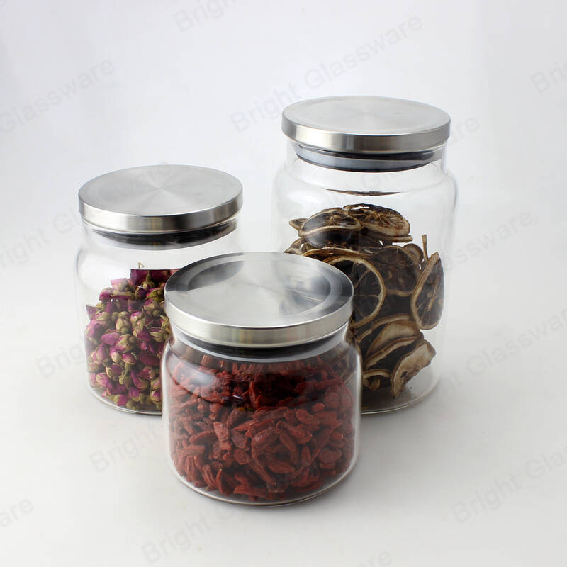 wide mouth large high borosilicate glass airtight storage jars with leak proof rubber gasket lid