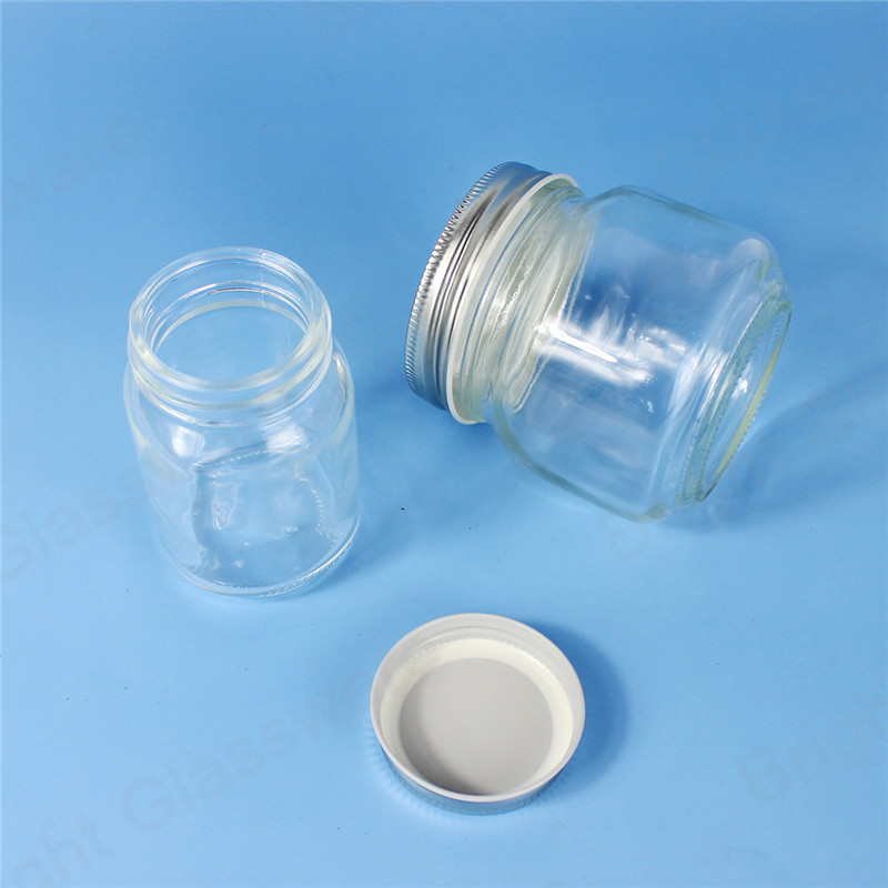 250ml 120ml clear wide mouth glass canning jars with sliver lids for food storage jam jelly