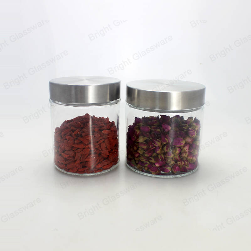 cylinder clear sealed sugar coffee cookie glass storage jars with metal lids