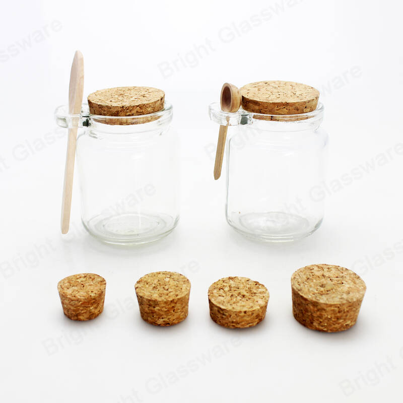 8oz 250ml transparent food storage container glass jar with cork lid and spoon for dry fruits, spice, sugar