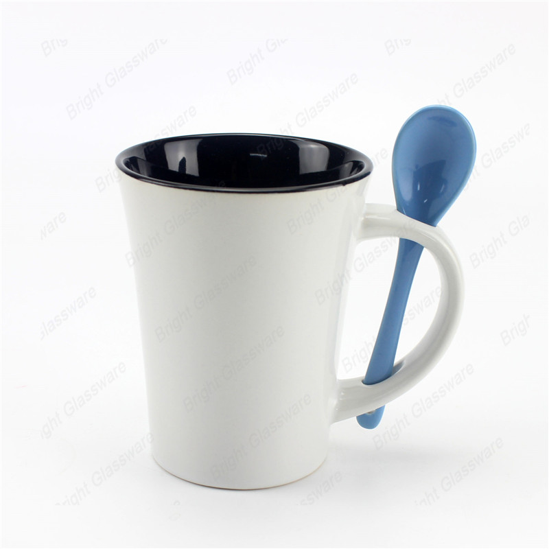 promotional gift coffee mugs ceramic mug with spoon in handle