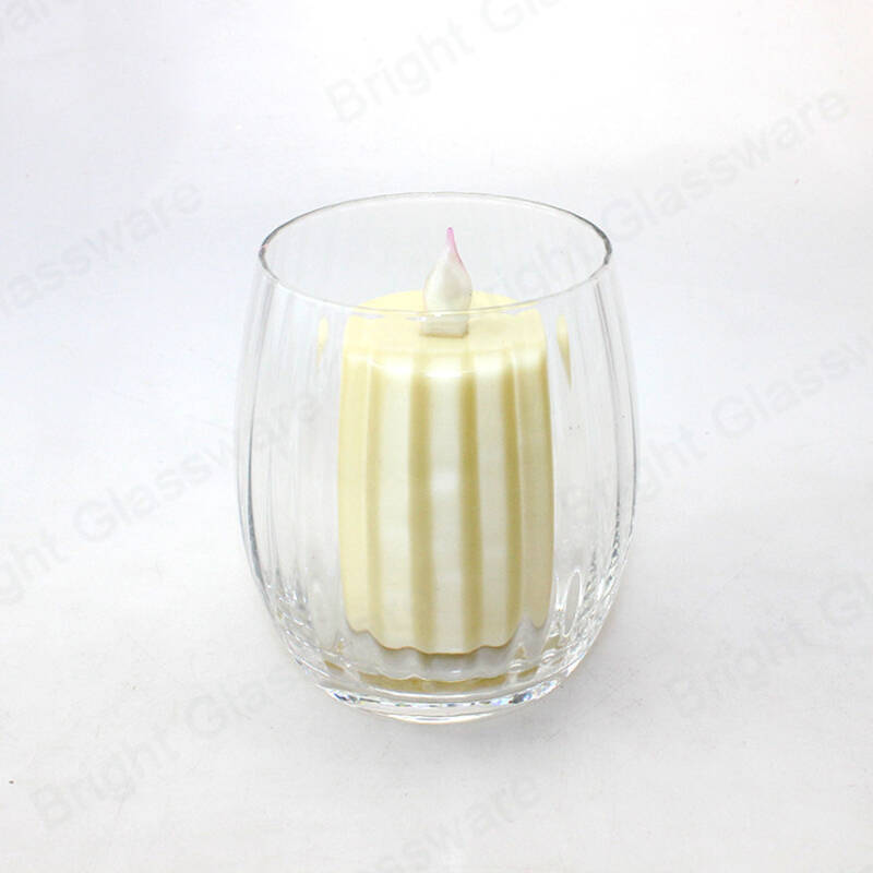 textured finish clear tea light blown glass candle jar tumblers