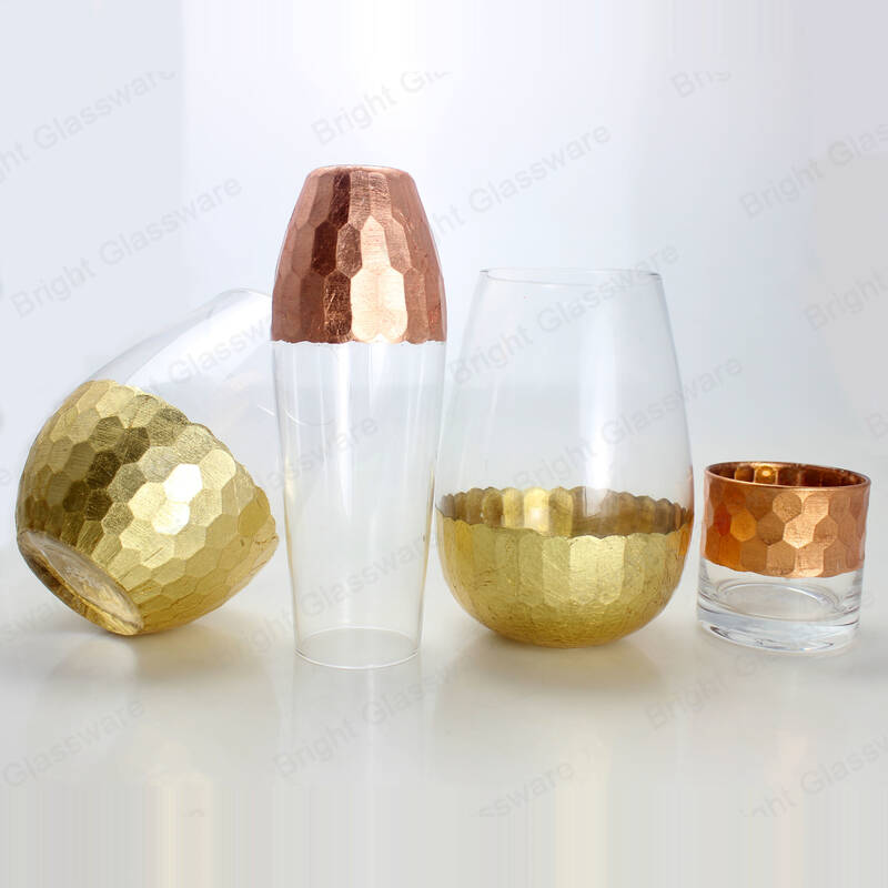 European dining table decorative small glass flowers vase clear cylinder glass candle vase with rose gold plated bottom