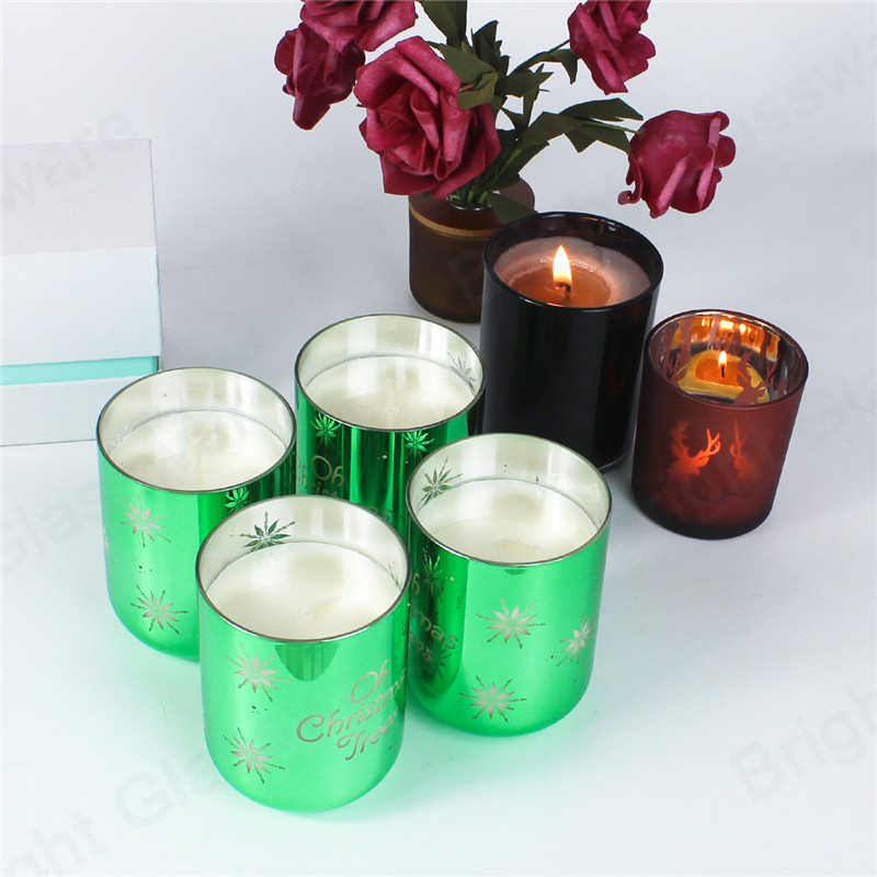 popular Christmas item snowflake design green scented glass candles jar for home decor gift