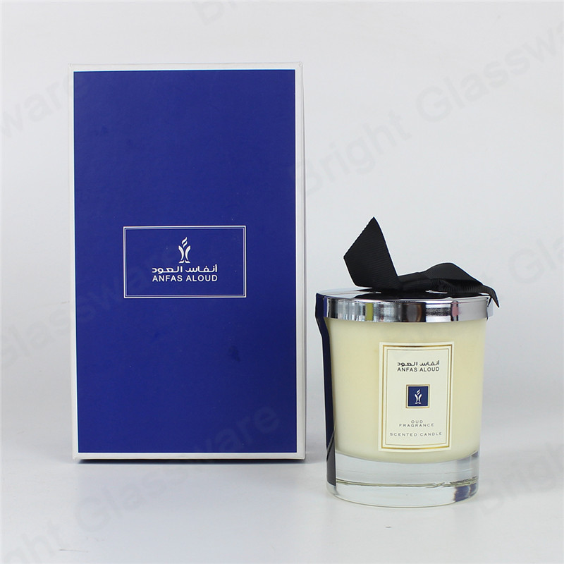 custom ribbon decoration private label candle jar and box paraffin scented perfume candle gift set