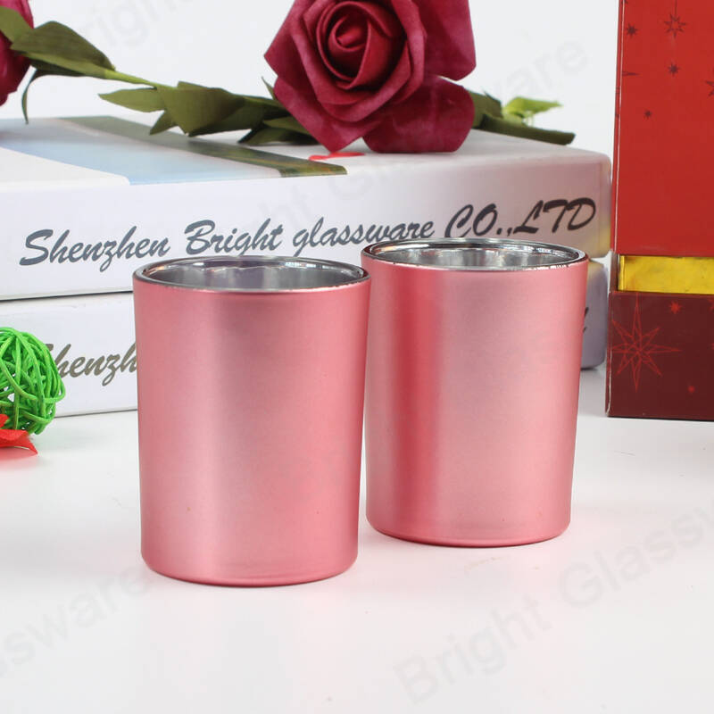 3oz in bulk cylinder glass matte pink candle vessels for Valentine's Day