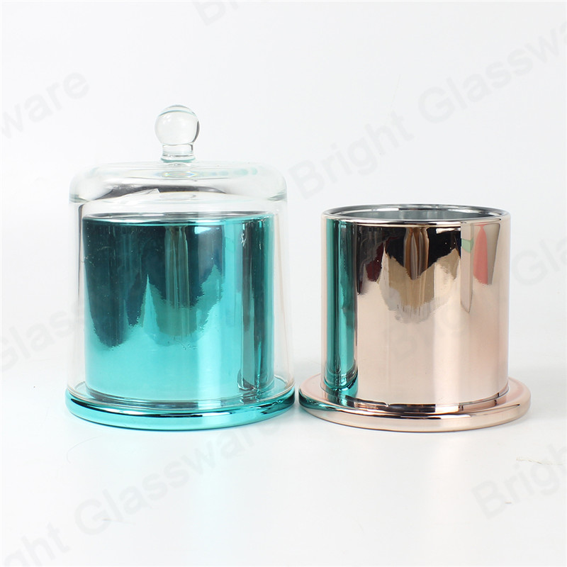 luxury large glass glass candle dome cover blue rose gold candle jar with glass dome lid