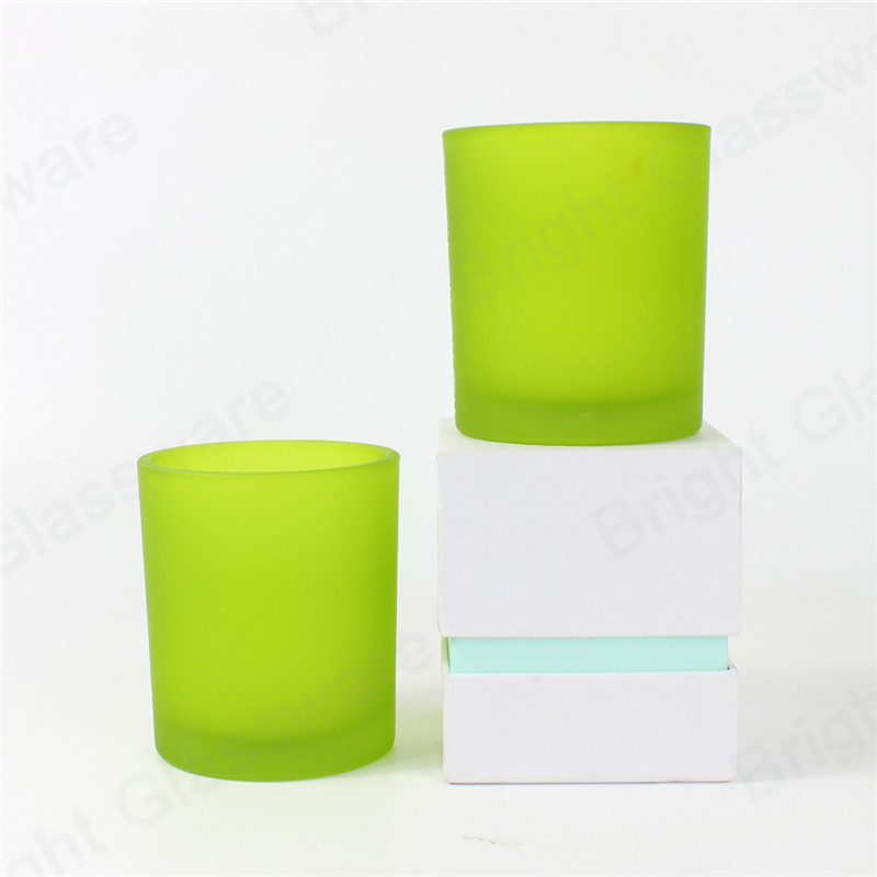 recycled 10oz matte frosted green glass candle holder glass jar