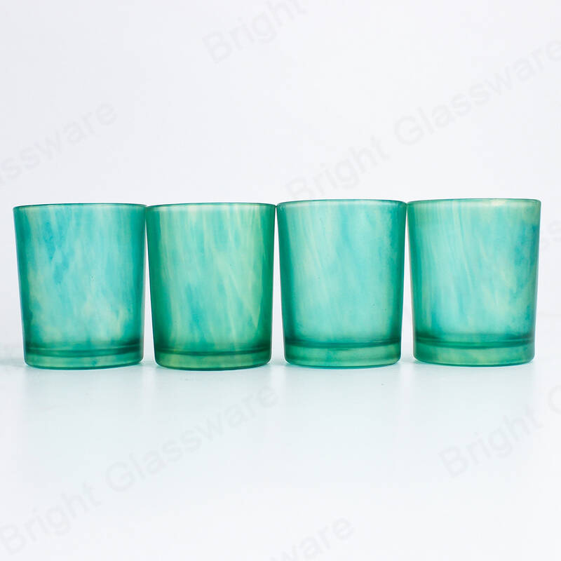 painting blue candle jars straight glass candle tumbler for Christmas decor