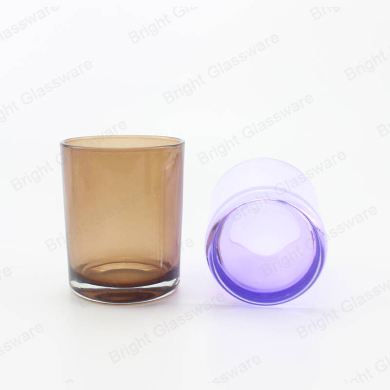 purple brown color glass candle holder translucent candle jars for sale