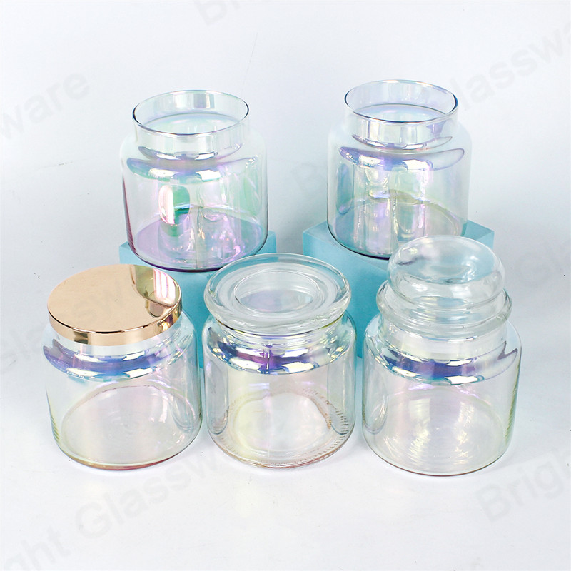 luxury wedding home decoration iridescent glass christmas mason jar candles with lid