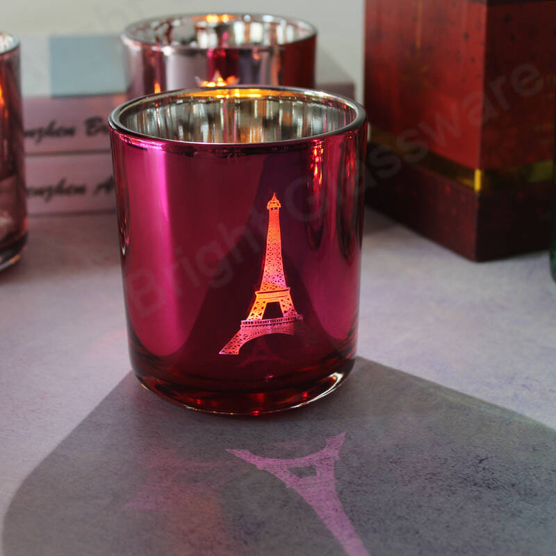 unique 14oz glass eiffel tower candle jar for holiday gift