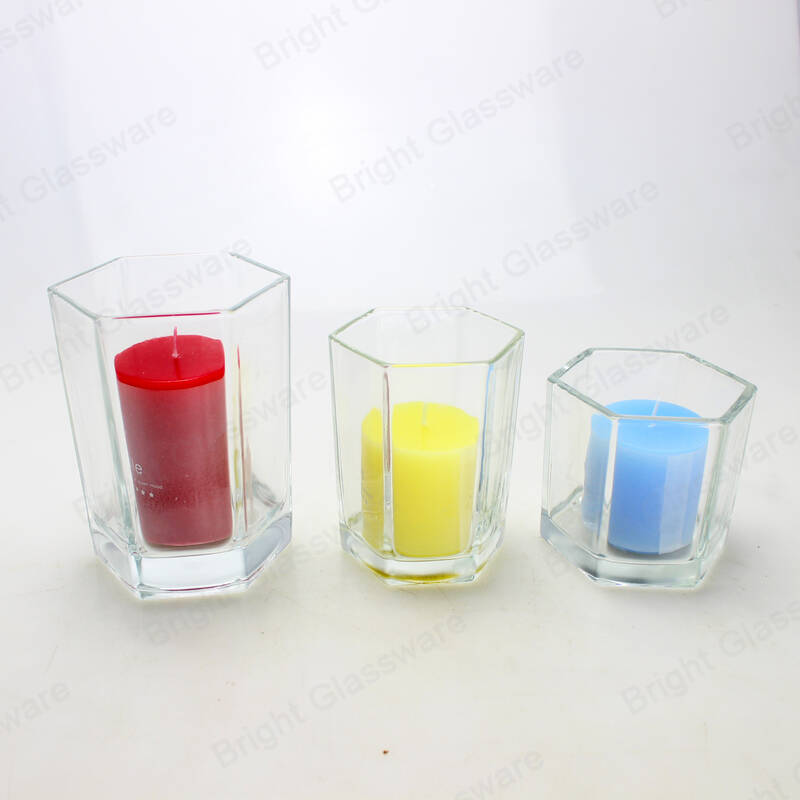 wholesale clear glass hexagon candle holder for table decoration