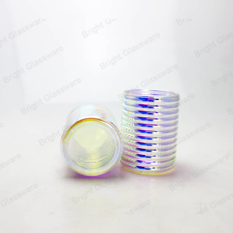 rainbow glass candle vessel striped candle holders for candle making