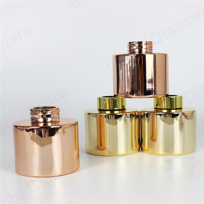 200 ml 100 ml round glass essential oil rose gold reed diffuser bottle with screw caps for home fragrance