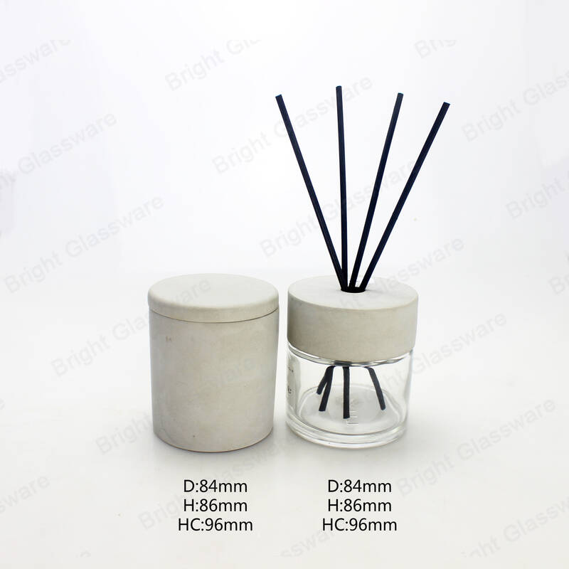 clear round reed diffuser glass bottle 100ml with black stick and cement cap