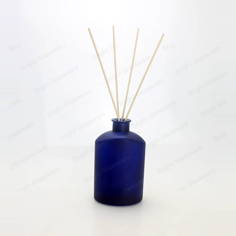 unique cobalt blue reed diffuser bottle glass with rattan sticks