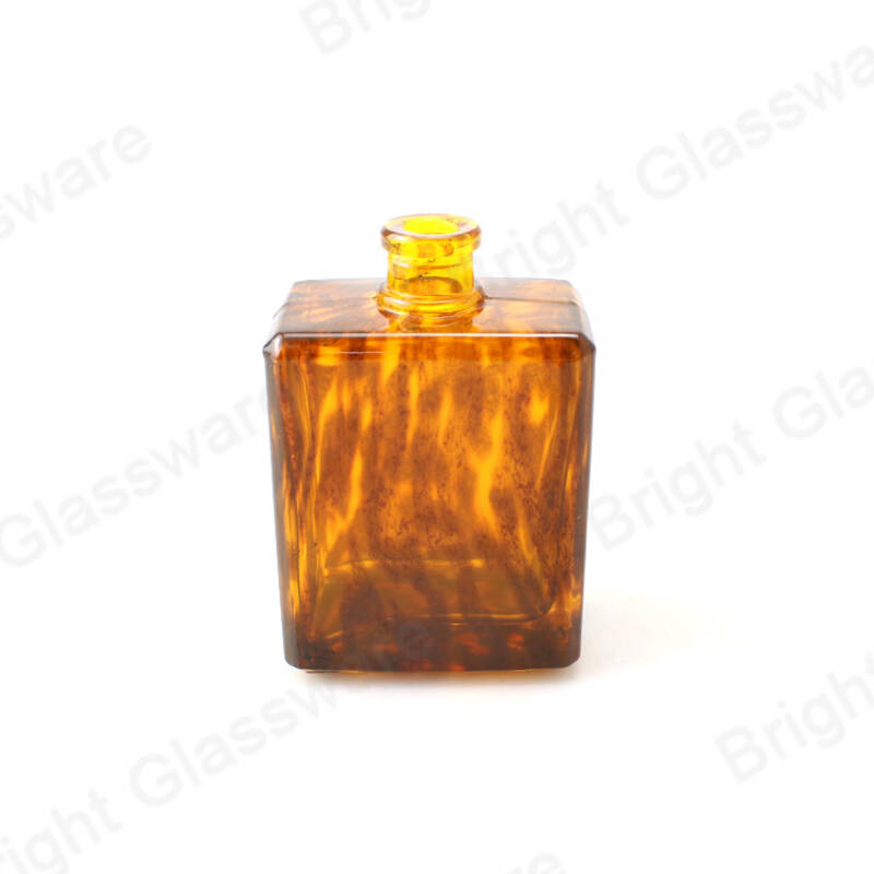 new design 100 ml brown amber glass leopard print perfume bottle