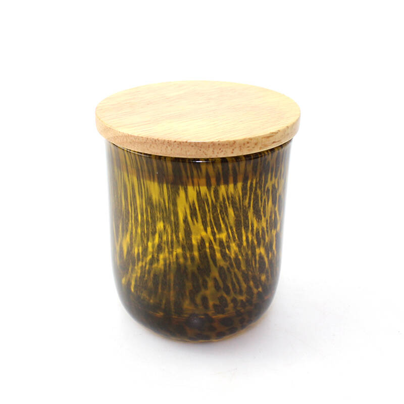 unique amber glass leopard print candle jar with wooden lid or metal lid