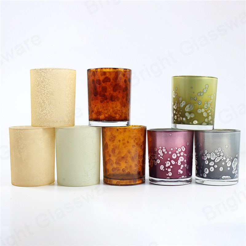 custom 8 oz colorful glass leopard candle jars with metal lid