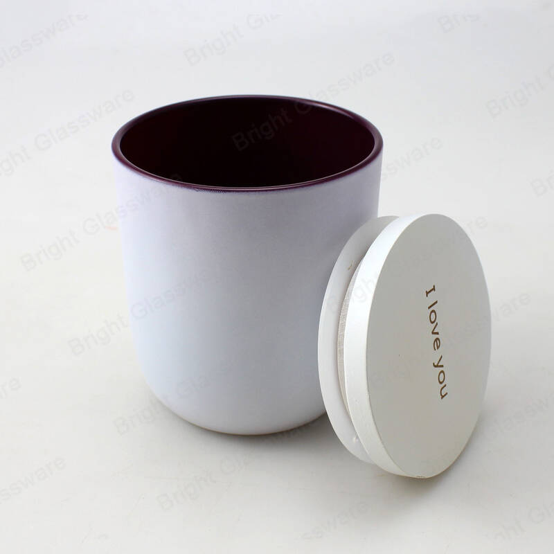 custom logo insider colored candle jar matte white candle glass with wooden lid wholesale