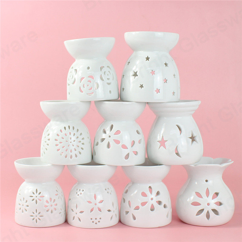 OEM white luxury ceramic wax candle warmer tea light melt burner set ceramic wax burner